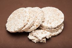 Round diet rice cracker, close up stock images