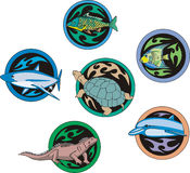 Round dingbats with fish and reptiles Stock Photography
