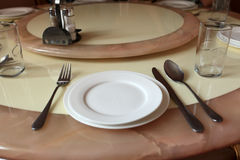 Round dining table Stock Photos
