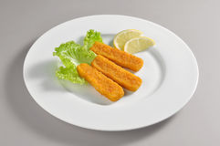 Round dish with fillet fish sticks breaded and fried Royalty Free Stock Images
