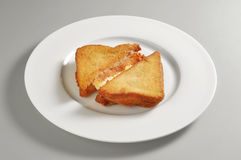 Round dish with fried mozzarella sandwich. Isolated on grey background Royalty Free Stock Image