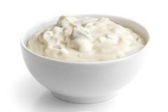 Round dish of homemade tartar sauce. Royalty Free Stock Photo