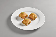 Round dish with turkish baclava Royalty Free Stock Photography