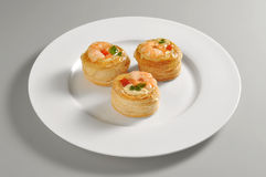 Round dish with vol au vent Royalty Free Stock Photos