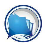 Round Document Icon or Logo. Nice round document icon, or logo; it has blue, gray, and white colors, and is on white background Royalty Free Stock Image