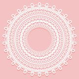 Round Doily On A Pink Background. Openwork Lace Ornament For Frame Design Stock Photos