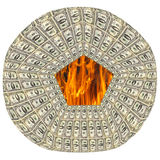 Round dollar pattern with flame within Royalty Free Stock Photos
