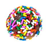 Round Donut with Sprinkles Stock Photo