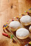 Round Donuts with Powdered Sugar on the Table Royalty Free Stock Photography