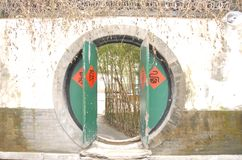 Round door. A round Chinese green door Royalty Free Stock Images
