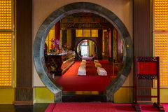 Round door to an altar at the Zhinan Temple in Taipei Stock Photography