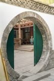 Round Door to Courtyard Stock Photo