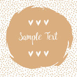 Round dots frame with a big beige dot with space for your text. Frame made of beige spots or dots. Stock Photography