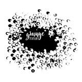 Round dots stamp frame with empty space for your text. Circle shape. Grunge texture Stock Photos