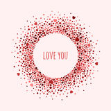 Round dotted frame with space for text. Vector Valentine`s day abstract background. Royalty Free Stock Photography