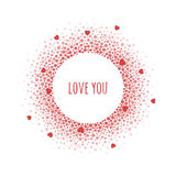 Round dotted frame with space for text. Vector Valentine`s day abstract background. Royalty Free Stock Photo