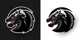 Round dragon logo. Two options. royalty free illustration