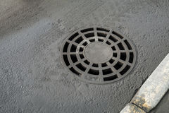 Round drainage sewer manhole cover Royalty Free Stock Image