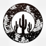 Round drawing of a night sky cactus silhouette. Stock Photography