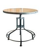 Round drewna i metalu stół odizolowywający na białym tle zdjęcia stock