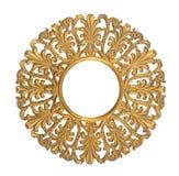 Round drewna złoty ornament Zdjęcie Stock