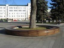 Round drewniana ławka Zdjęcia Stock