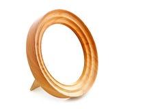 Round drewniana rama na stojaku Zdjęcia Stock