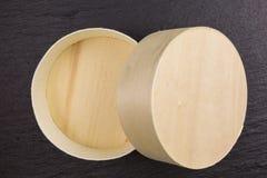 Round drewniany pudełko Fotografia Royalty Free