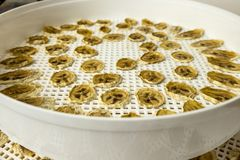 In a round drying bowl, dried bananas, home-made dried fruits, Stock Photography