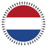 Round Dutch flag with people Stock Photo