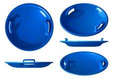 Round dzieci saneczek błękitna plastikowa łódź dla narciarstwa od lodowego obruszenia, wektorowa ilustracja odizolowywająca obrazy royalty free