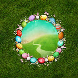 Round Easter frame with eggs. Festive greeting card or poster with  round frame with eggs and flowers for Easter. Computer graphics Stock Photography