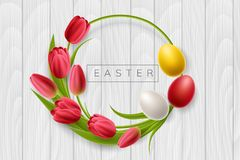 Round Easter frame with tulip flower and egg. Round Easter frame from red tulip flowers and colorful Easter eggs. Circle frame on white wood texture for spring Royalty Free Stock Image