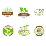 Round eco green stamp label of healthy organic Royalty Free Stock Photos