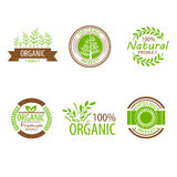 Round eco green stamp label of healthy organic Stock Photo