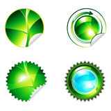 Round eco shiny sticker set Royalty Free Stock Photos