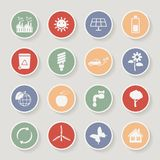 Round ecology icon set. Vector illustration Royalty Free Stock Images