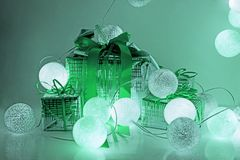 Round electric Christmas lights with some decor elements. Christmas decorations. Round electric Christmas lights with some decor elements royalty free stock photography