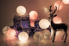 Round electric Christmas lights with some decor elements. Christmas decorations. Round electric Christmas lights with some decor elements Royalty Free Stock Image