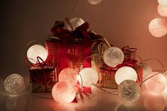 Round electric Christmas lights with some decor elements. Christmas decorations. Round electric Christmas lights with some decor elements Stock Photo