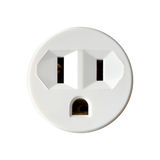 Round Electrical Outlet Isolated on White Background. Round North American Electrical Outlet Isolated on White Background Stock Photos