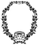 Round elegant frame in art nouveau style Stock Photography