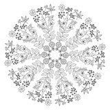 Round element for coloring book. Black and white ethnic henna pa Stock Photography