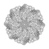 Round element for coloring book. Black and white floral pattern. Stock Photography