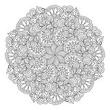 Round element for coloring book. Black and white floral pattern. Stock Images