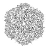 Round element for coloring book. Black and white floral pattern. Stock Photos
