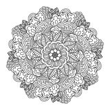 Round element for coloring book. Black and white floral pattern. Royalty Free Stock Image