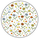 Round element with daisy flowers and bellflowers. Vintage vector stamp Stock Photos
