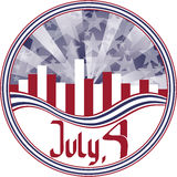 Round emblem with calligraphy Fourth of July. Stock Image