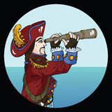 Round emblem with captain watching pipe on sea background Stock Photo